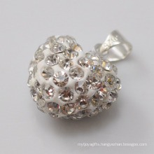 new year gift Shamballa Pendant Wholesale Heart Shape New Arrival 15MM White Crystal Clay Pendant For DIY Jewelry