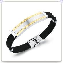 Borracha pulseira de aço inoxidável jóias pulseira de silicone (lb218)