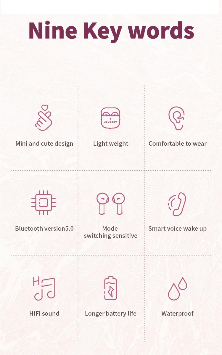Bluetooth Earphones True Wireless Earbuds Waterproof Stereo Earphones In Ear Ultra Light Earbuds