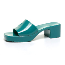 Luxury designer name brands chunky heel women jelly slides girl fashion jelly sandals top selling style lady jelly shoes