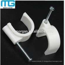 Clips de fil de câble de mur en plastique blanc rond de 4mm -40mm avec l'ongle en acier à haute teneur en carbone
