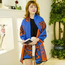Colorido rosa flor personalizado marca promoção poliéster lenço lenço