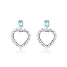 E-715 xuping new design elegant heart shaped design rhodium color synthetic zircon drop earrings