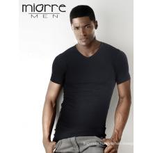Miorre OEM Wholesale Men's Short Sleeve V-Neck Stretch Modal Cotton Singlet Two Colors