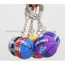 Corrente chave de Keychain do Keyring do basquetebol do plutônio 3D do OEM para a lembrança