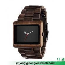 Relógios de madeira quadrados do lazer do estilo do lazer e da forma do OEM do OEM