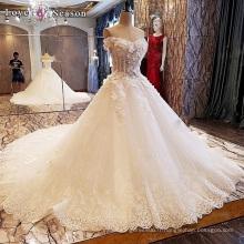 LS00094 au large de l'épaule robe de soirée fleur brodé appliques en pierre perlée sexy robes de mariée transparente