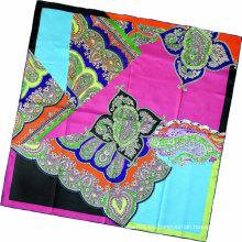 Lady Fashion Paisley Printed Square Silk Scarf (HC1315-2)