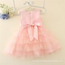 Muitas camadas 3-12years menina vestido miçangas baby girl party dress crianças frocks projetos com rosa e branco
