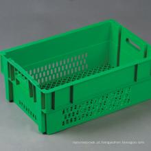 Recipiente de empilhamento retrofletido para transporte de vegetais