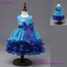 Custom Made Beautiful Blue Flower Girls Vestidos para Casamentos Pretty Formal Girls Gowns Cute Satin Puffy Tulle Pageant Vestido Primavera