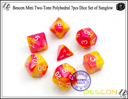 Bescon Mini Two-Tone Polyhedral 7pcs Dice Set of Sunglow-1