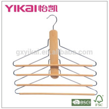 Funtional space saving trousers pants wooden hanger with 4tiers of round bar