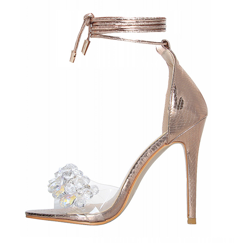 thin high heel lace up sequins sandals