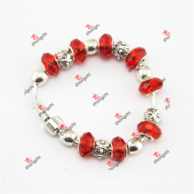 Red Glass Beads Snake Brass Bracelet Jewelry Gifts (OID60229)