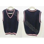 Fashion Autumn Cotton V Neck Sweaters , Black Sleeveless Ve