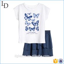 2017 alibaba оптовая детские малыш девочка рубашка рукав мини-юбка плиссированная юбка платья комплект