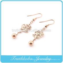 Escavar flor pingentes gota brincos com bola para acessórios de joias de aço inoxidável da moda feminina menina da senhora