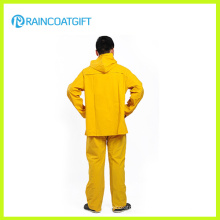 Yellow PVC Polyester Safety Rainsuit (RPP-042)
