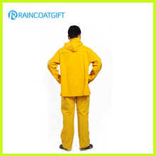 Rainsuit amarelo da segurança do poliéster do PVC (RPP-042)
