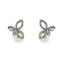 925 Silver Finesse Crystal e Pearl Leaf Stud Earrings jóias com banhado a ouro