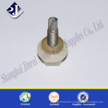 plastic hex flange self drilling screw with plastic washer