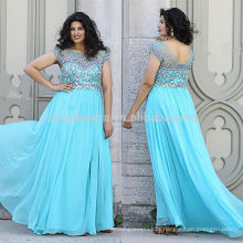 Stunning 2014 Light Blue Long Plus Size Prom Vestido Sheer Neck Cap Sleeve Jeweled Zipper Chiffon A-Line Vestido de noite NB0901