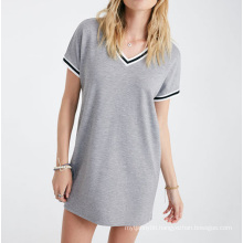 Top Quality Cotton Fashion Custom Wholesale Fashion V Neck Lady Summer T Shirt
