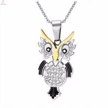 Alta qualidade de aço inoxidável coruja pingente de colar de jóias
