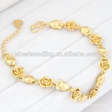Moda moda rosa flor pulseira de ouro mulheres