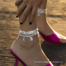 European and American Silver Claw Chain Chain Multi-Layer Temperament Diamond-Studded Baby Letter Pendant Fashion Jewellery Anklet Bracelet for Women