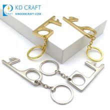 Design Custom Touchless No Contact Virus Hygiene No Touch Door Handle Opener Key Chain Contactless EDC Brass Door Opening Tools