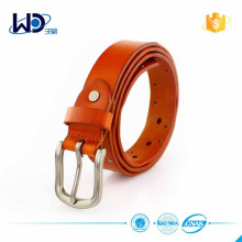 Pinkish-orange Genuine Leather Belt with Pin Buckle