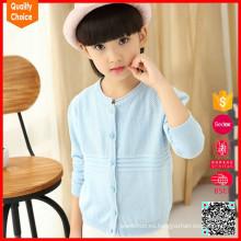 Nuevo diseño de manga larga azul claro suéter de cachemir de las niñas para las niñas