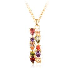 Banhado a ouro Zircon Mona Lisa Bar colar para as mulheres (CNL0219)