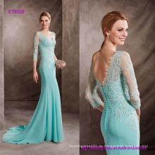 Guipure Dekorieren Sie das Bodice Mermaid Dress mit einem Zug und V-Ausschnitt in Light Gaze
