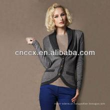 13STC5516 100% lã shalw colarinho senhoras lã cardigan camisola