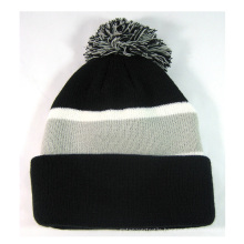 Jacquard Beanie Hat with Two Braid
