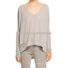 Топ мода девушки V-образным вырезом вязаный batwing рукавом пуловер узором