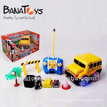4 functions cartoon stunt RC bus set with light and music
