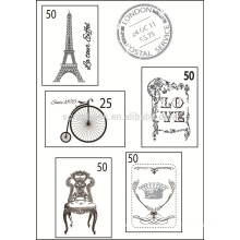 Collection postage stamp set, scrapbook rubber clear stamp
