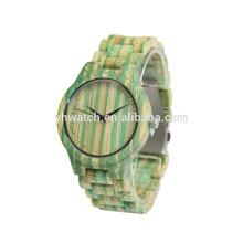 relógios naturais da cor do exército de bambu para unisex