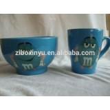 ZIBO XINYU XY-975 a Set of Green Color Glazed Ceramic Mug and Bowl