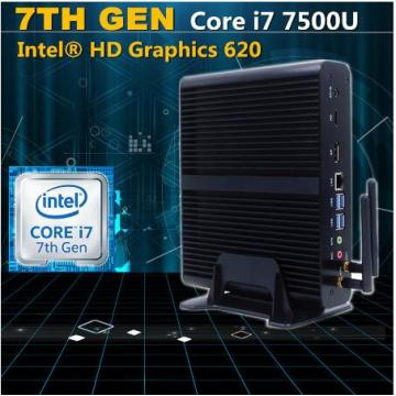 Mini-PC Fanless de la 7ème génération Core I5 ​​7200u I3 7100u Intel HD Graphics620 14 Nm Barebone 4k HTPC Desktop Mini Computer