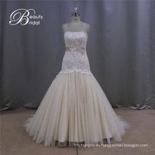 Sirena de vestido de boda de encaje Champagne