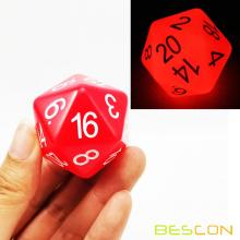 Bescon Jumbo Glowing D20 38MM, Tamaño grande 20 lados Dados Red Glow In Dark, Big 20 Faces Cube 1.5 pulgadas
