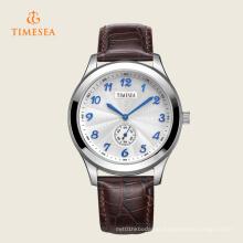 Relógio de pulso de quartzo de couro de relógio de pulso casual masculino 72312