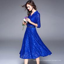 Le commerce extérieur Europe station femmes automne nouveau tempérament sept points manches robe en dentelle jacquard