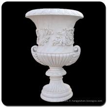 Pot de jardinière en marbre blanc Chine VFP-006L