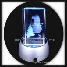image personnalisée 3d laser enrgaved crystal bonhomme de neige avec base led